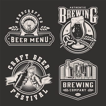 Vintage monochromatyczne piwo odznaki