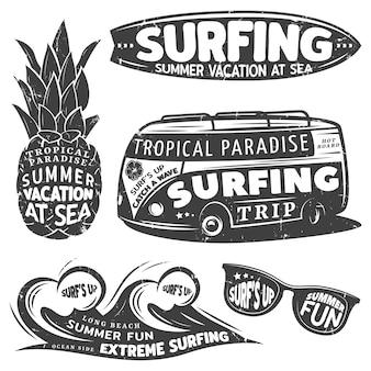Vintage monochromatyczne surfing zestaw grafiki