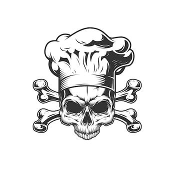 Vintage monochromatyczne szefa kuchni czaszki