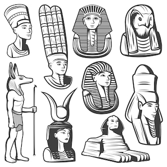 Vintage monochromatyczne zestaw ludzi starożytnego egiptu