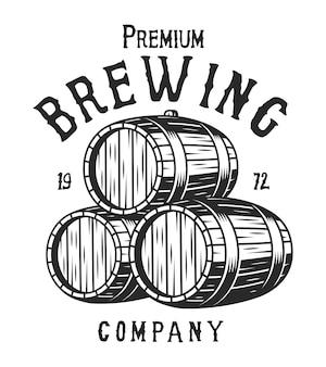Vintage monochromatyczny logo firmy piwowarskiej