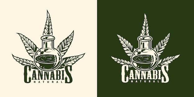 Vintage monochromatyczny logotyp marihuany