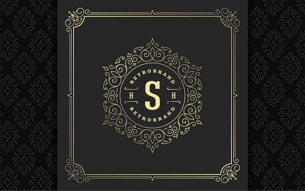Vintage monogram logo eleganckie kwitnie grafika liniowa wdzięczne ozdoby projekt szablonu wektor w stylu wiktoriańskim