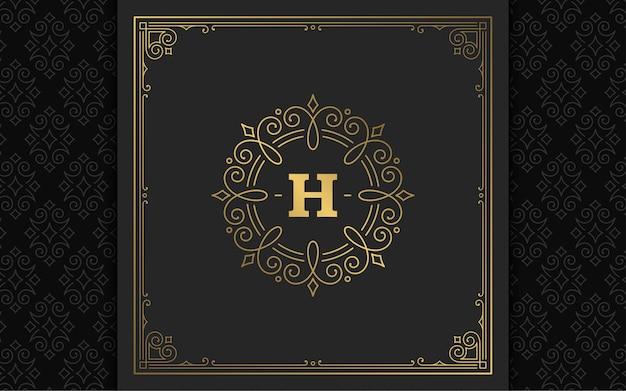 Vintage monogram logo eleganckie kwitnie grafika liniowa wdzięczne ozdoby szablon projektu w stylu wiktoriańskim