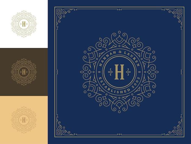 Vintage monogram logo eleganckie kwitnie grafika liniowa wdzięczne ozdoby szablon w stylu wiktoriańskim.