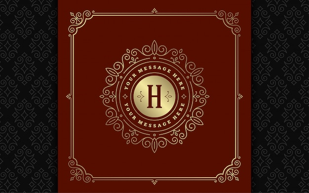 Vintage monogram logo eleganckie ozdoby linii sztuki ozdoby