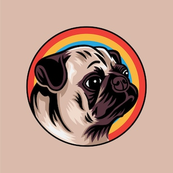 Vintage mops pies koncepcja wektor ilustracja na białym tle na tle