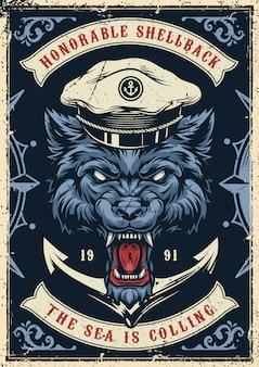 Vintage morskich i morskich kolorowy plakat