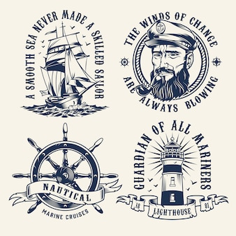 Vintage morskie etykiety monochromatyczne
