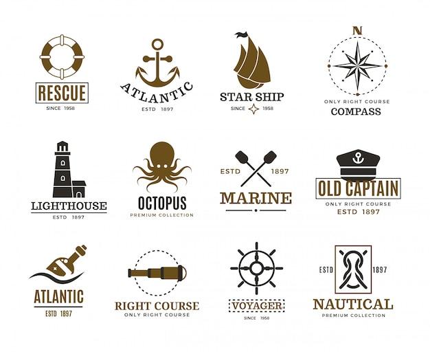 Vintage morskie logo