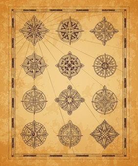 Vintage morskie mapy kompasowe. ramka mapy starożytnej długości i szerokości geograficznej. średniowieczna kartografia, nawigacja morska i poszukiwanie skarbów przygoda wektor róża wiatrów, symbol kompasu z ornamentami