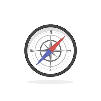 Vintage mosiądz podróży kompas na białym tle geografia wschód kierunek podróży ilustracja wektorowa. ikona kartografii i nawigacji