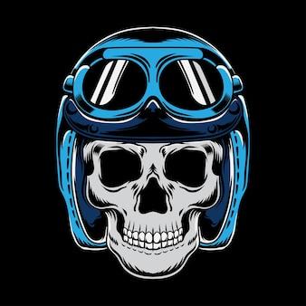 Vintage motocykl z czaszką w kasku moto