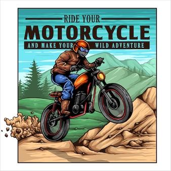 Vintage motocyklista jump on the mountain