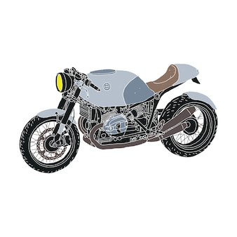 Vintage motorrad cafe racer zestaw ilustracji motocykl