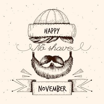 Vintage movember miesiąc bez golenia