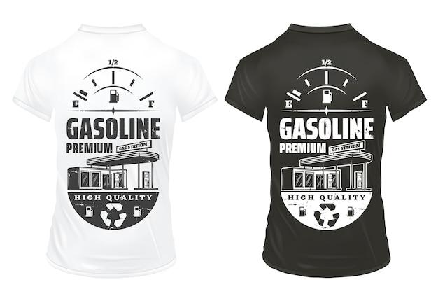 Vintage nadruki benzyny na koszulkach z napisem wskaźnik paliwa i stacja benzynowa na białym tle