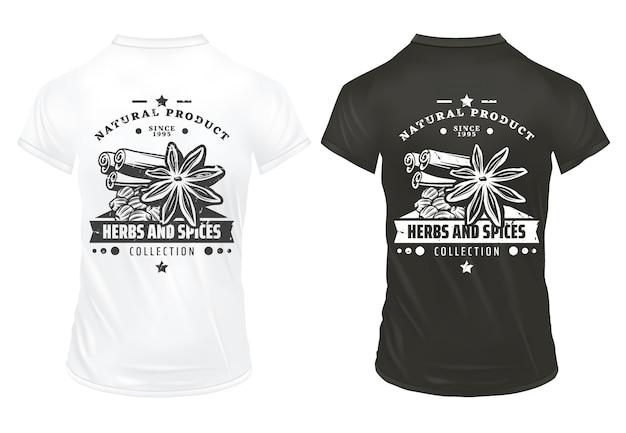 Vintage nadruki świeżych organicznych przypraw z napisem cynamonowym anyżu gwiazdkowatym i kolendrą na koszulkach na białym tle