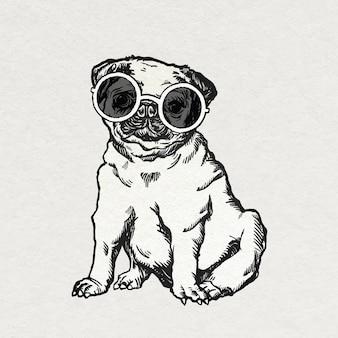 Vintage naklejka z mopsem z uroczymi okularami przeciwsłonecznymi