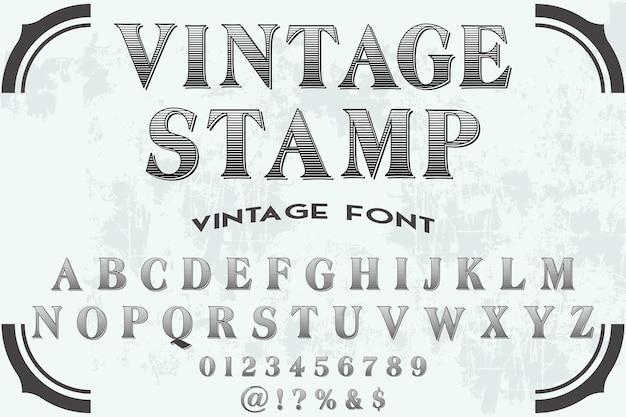 Vintage napis alfabet czcionki projekt znaczka
