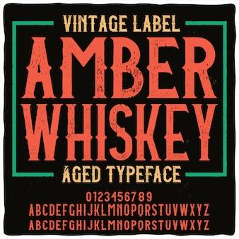 Vintage napis amber whisky