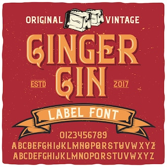 Vintage napis ginger gin