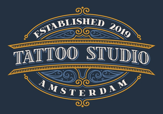 Vintage napis na tatuażu studio na ciemnym tle. wszystkie elementy i tekst znajdują się w osobnych grupach