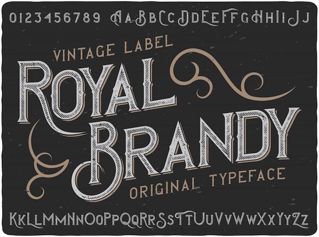 Vintage napis royal brandy