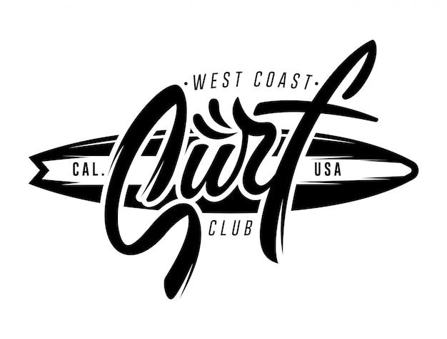 Vintage napis surfing logo, godło, odznaka, etykieta. ilustracja graficzna. projekt koszulki surfingowej.