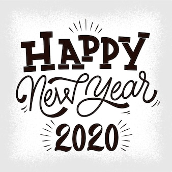 Vintage napis szczęśliwego nowego roku 2020