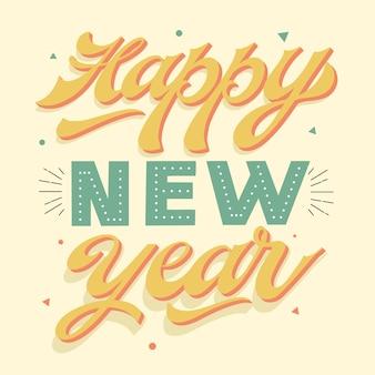 Vintage napis szczęśliwego nowego roku