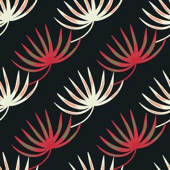 Vintage natura wzór z różowo-białymi kolorowymi kształtami liści botanicznych
