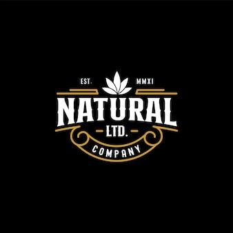 Vintage natural cannabis hemp logo design