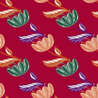 Vintage naturalny wzór z zielonymi i różowymi kwiatami maku abstrakcyjne kształty