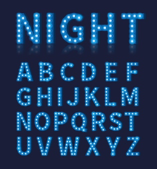 Vintage niebieska żarówka lampa czcionka lub alfabet. projekt typografii, jasna świecąca dekoracja czcionki,