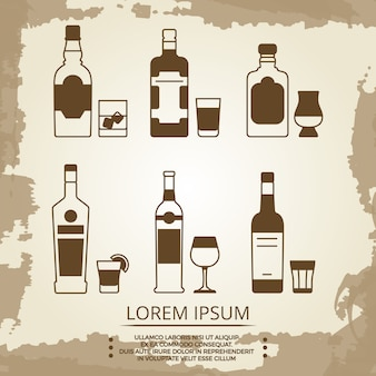 Vintage nieczysty plakat z ikonami napojów alkoholowych