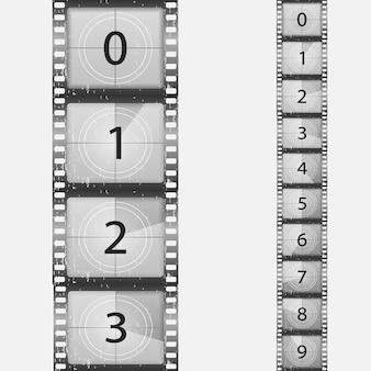 Vintage niemy film i pusta pełna klatka filmu fotograficznego film odliczający kino wektor taśmy filmowej