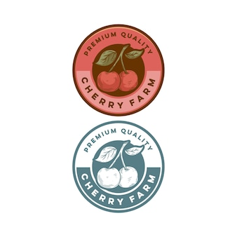 Vintage odznaka jakości premium retro owoc wiśni