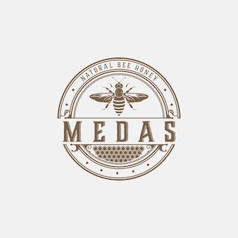 Vintage odznaka logo pszczoły
