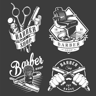 Vintage odznaki dla zakładów fryzjerskich