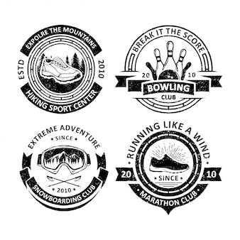 Vintage odznaki sportu na świeżym powietrzu