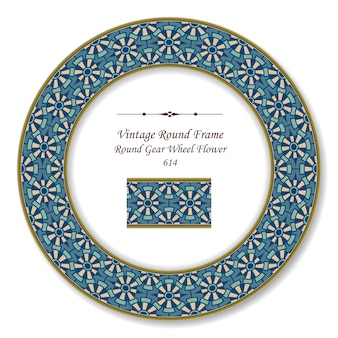 Vintage okrągła rama retro geometria koła zębatego kwiat, styl antyczny