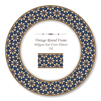 Vintage okrągła rama retro wielokąt gwiazda krzyż kwiat, styl antyczny