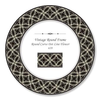 Vintage okrągła ramka retro krzywa krzyża linia kropka kwiat, styl antyczny