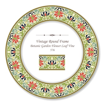 Vintage okrągła retro ramka ogród botaniczny kwiat liści winorośli