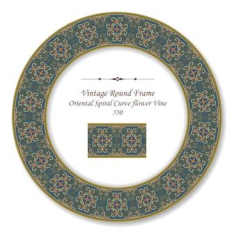 Vintage okrągła retro ramka oriental spirala curve kwiat winorośli