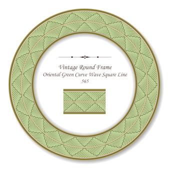 Vintage okrągła retro ramka orientalna zielona krzywa wave square line