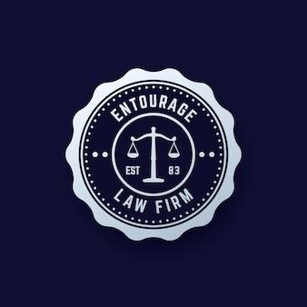Vintage okrągłe logo firmy prawniczej, godło kancelarii prawnej, wektor