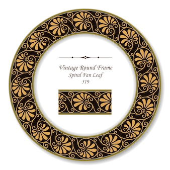 Vintage okrągłe ramki retro aborygeńskich brązowych spiralnych liści wentylatora