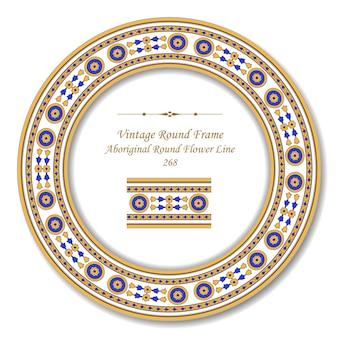 Vintage okrągłe ramki retro aborygeńskich okrągłych linii kwiatowych